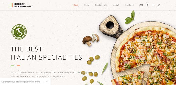 Bridge Restaurant WordPress theme