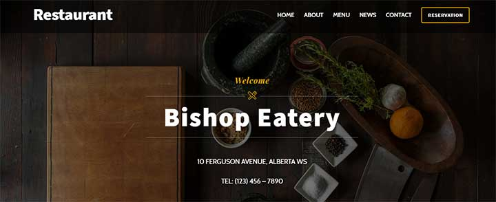 Ultra WP theme for restaurants