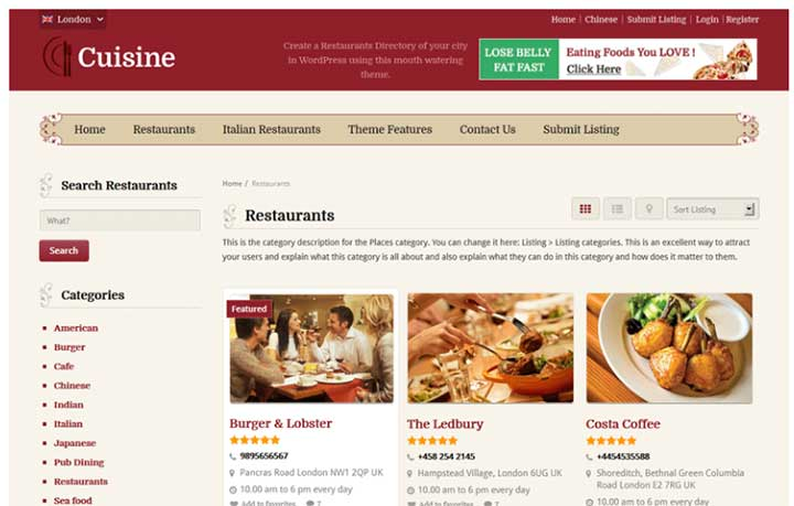 Cuisine WordPress restaurant theme