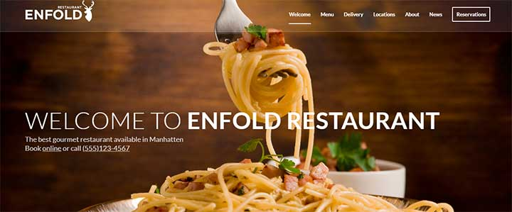 Enfold cafe and restaurant theme