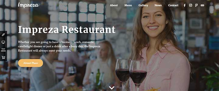 Impreza WordPress restaurant theme