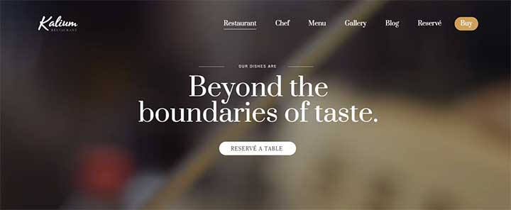 Kalium WordPress restaurant theme