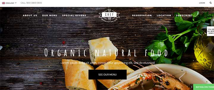 Kallyas Restaurant WordPress theme