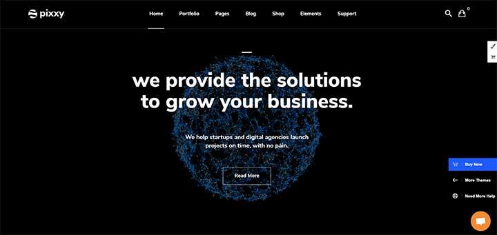 Pixxy - Software Startup WordPress theme