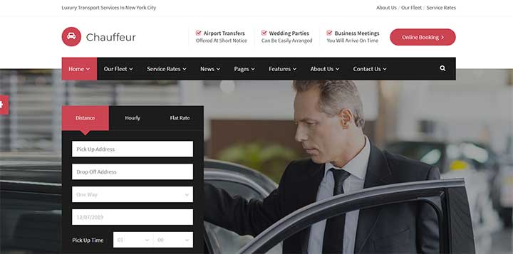 Limousine, Transport And Car Hire WP Theme