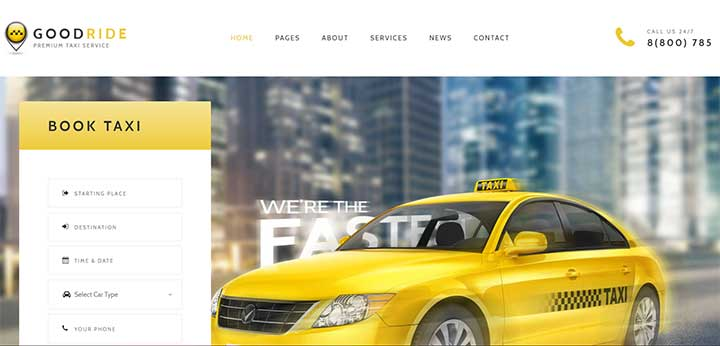 Taxi Company, Cab Service WordPress Theme
