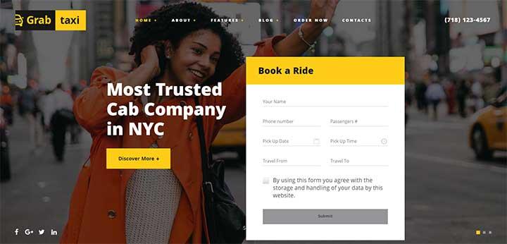Online Taxi Service WordPress Theme