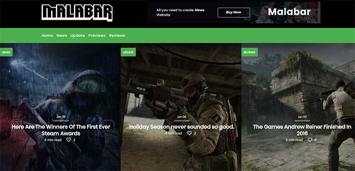 Malabar WP Gaming Theme