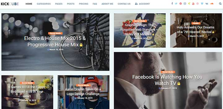 KICKCUBE Membership & User Content Sharing Theme