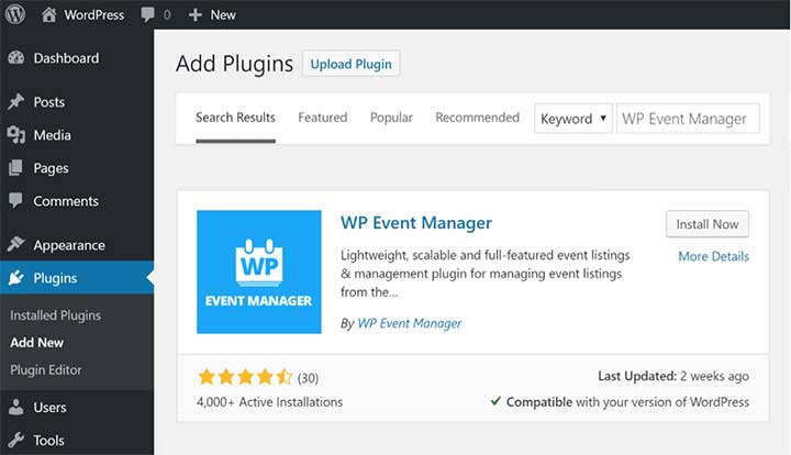 Install WP Event Manager Plugin