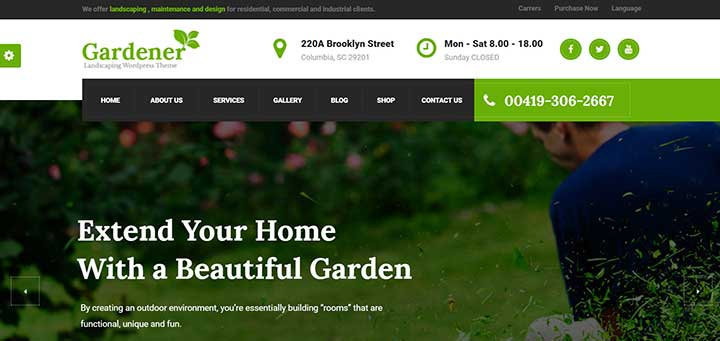 Gardener Lawn and Landscaping WordPress Theme