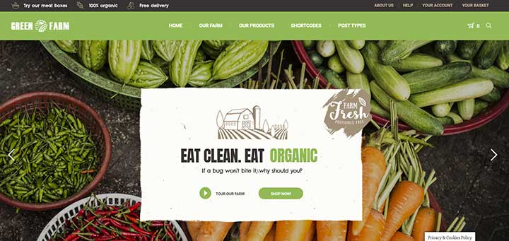 Green Farm Organic Food WordPress Theme