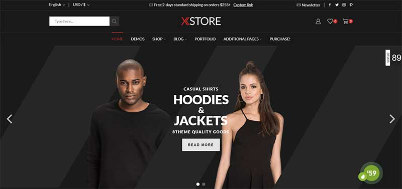 XStore WordPress Dark Theme