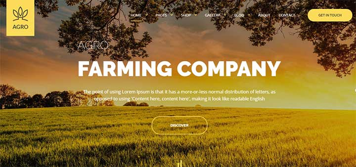 Agro Organic Food & Agriculture WordPress Theme