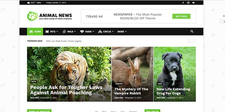 Newspaper WordPress Animal Theme