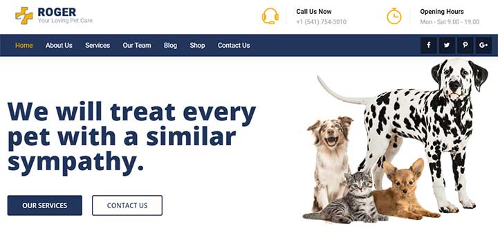 Roger Pet Care WordPress Theme