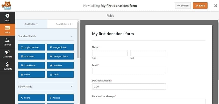 wpforms-customize-form-fields-to collect donations on wordpress