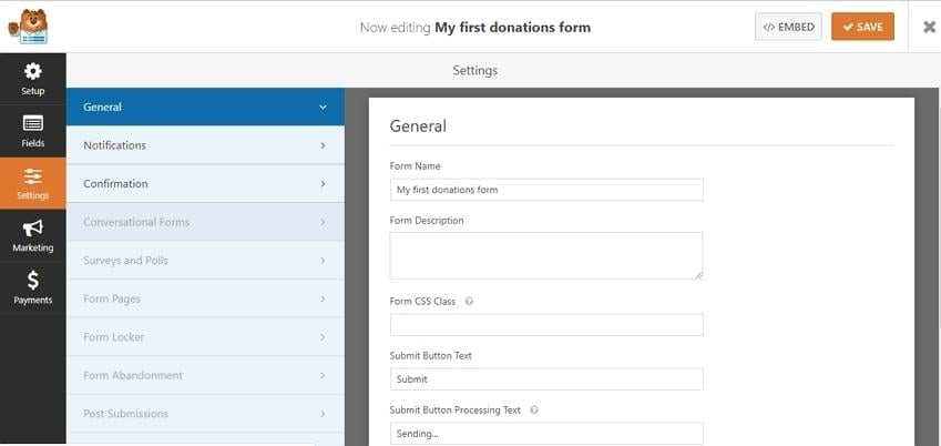 wpforms-general-settings accept donations on wordpress