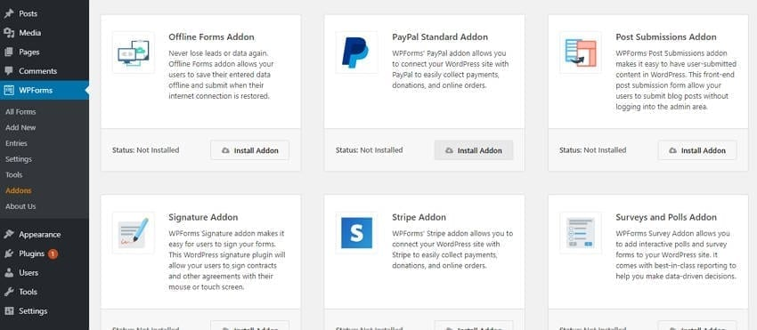 wpforms-install-payment-addons accept donations on wordpress