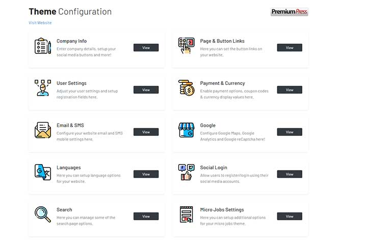 PremiumPress Micro Jobs Theme Configuration