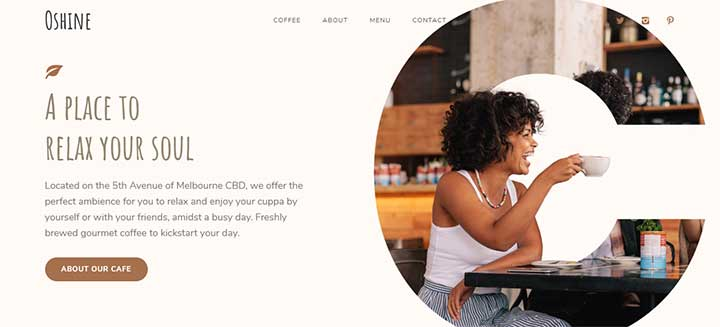 Oshine WordPress cafe Theme