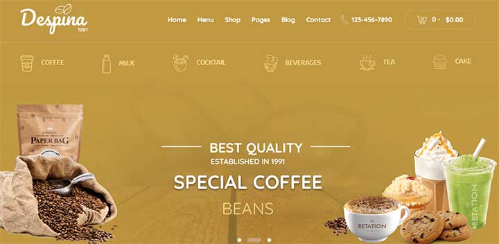 Despina Coffee Shop WordPress Themes