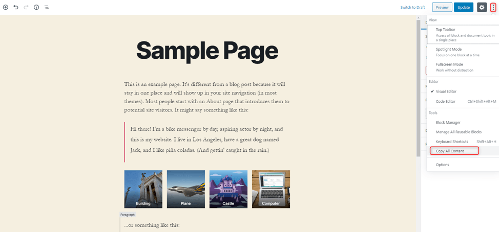 Wordpress duplicate page