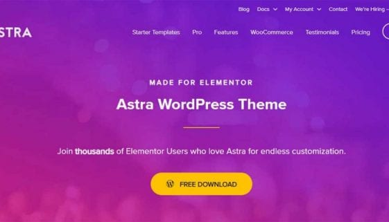 WooCommerce website using Astra theme