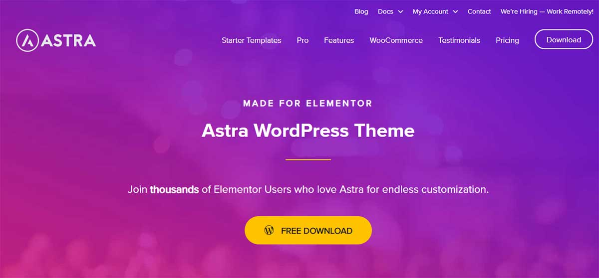 Build a WooCommerce website using Astra and Elementor
